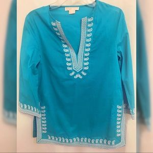 Embroidered Split Neck Tunic.